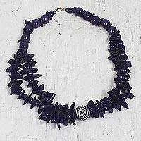 Wood and coconut shell beaded necklace, 'Majestic Purple' - Purple Wood and Coconut Shell Beaded Necklace from Ghana