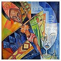 'Akuaba' - Signed Cubist Painting of a Fertility Doll from Ghana