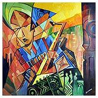 'Play the Music' - Signed Cubist Painting of a Musician from Ghana