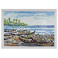 'Local Fishing' - Signed Impressionist Seascape Painting from Ghana