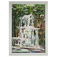 'Waterfalls' - Signed Impressionist Waterfall Painting from Ghana