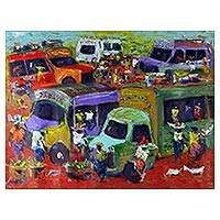 'Market People' - Signed Expressionist Market Scene Painting from Ghana