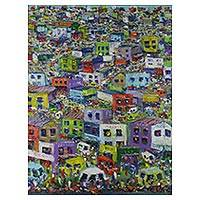 'Busy City' - Signed Expressionist Cityscape Painting from Ghana