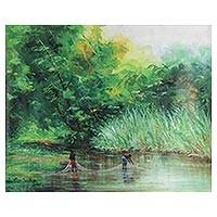'Fishermen' - Signed Impressionist Painting of Two Fishermen from Ghana