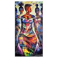 'Night of Fashion' - Multicolored Cubist Painting of Women from Ghana