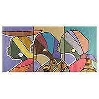 'Friends Together' - Signed Cubist Painting of Three Women from Ghana