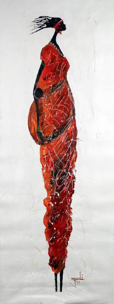 'Mommy' - Expressionist Painting of a Woman in Red from Ghana