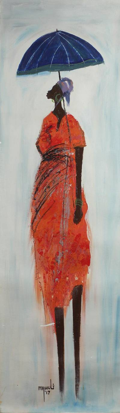 'Umbrella' - Signed Painting of a Woman with an Umbrella from Ghana