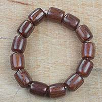 Recycled plastic beaded stretch bracelet, 'Beautiful Nsa Se' - Recycled Plastic Beaded Stretch Bracelet from Ghana