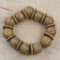 Wood beaded stretch bracelet, 'Royal Rings' - Brown Sese Wood Beaded Stretch Bracelet from Ghana