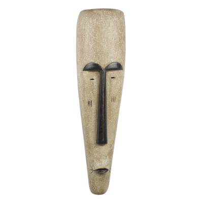 African wood mask, 'Fang Ngil Woman' - Handcrafted Long African Sese Wood Mask from Ghana