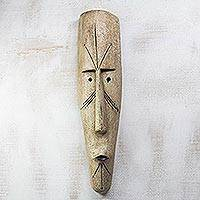 African wood mask, 'Fang Ngil Man' - Handcrafted Long African Sese Wood Mask from Ghana