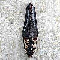 African wood mask, 'Watchful Crocodile' - Hand Carved African Sese Wood Crocodile and Giraffe Mask