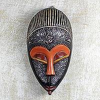 African wood mask, 'Adom Ahoto' - Hand Carved African Sese Wood and Aluminum Adom Ahoto Mask