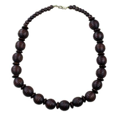 Handcrafted Sese Wood Beaded Necklace from Ghana