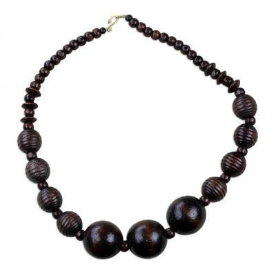 Dark Sese Wood Beaded Pendant Necklace from Ghana