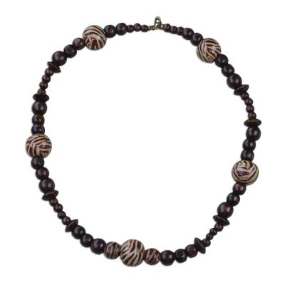 Zebra Motif Sese Wood Beaded Necklace from Ghana