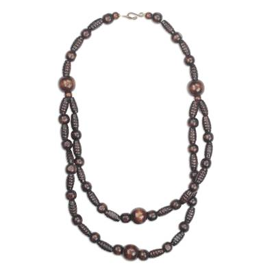 Sese Wood Multi-Strand Beaded Necklace from Ghana