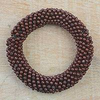 Recycled glass beaded stretch bracelet, 'Bold Ohene' - Recycled Glass Beaded Stretch Bracelet from Ghana