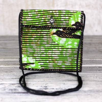Cotton sling bag, 'Green Tag-Along' - Striped Cotton Shoulder Bag in Green from Ghana