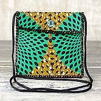 Cotton shoulder bag, 'Vibrant Companion' - Printed Cotton Shoulder Bag in Green from Ghana