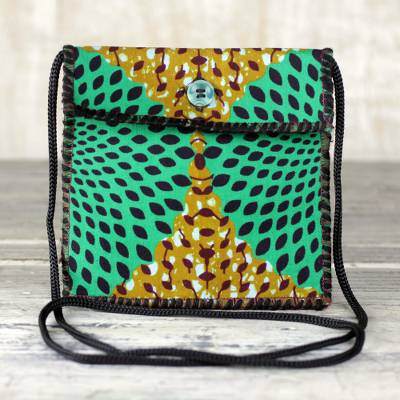 Cotton sling bag, 'Vibrant Companion' - Printed Cotton Shoulder Bag in Green from Ghana