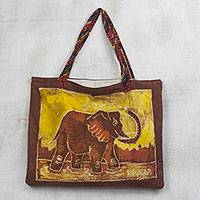 Batik cotton tote bag, 'Elephant at the Market' - Batik Cotton Elephant Tote Bag from Ghana