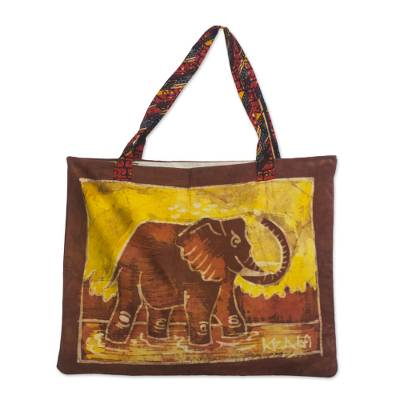 Novica Batik cotton shopping bag, Elephant at the Market