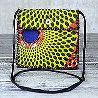 Cotton shoulder bag, 'Sunny Fantasy' - Printed Cotton Shoulder Bag in Yellow from Ghana