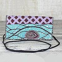Cotton shoulder bag, 'Watchful Eye' - Printed Cotton Shoulder Bag in Blue and Pink from Ghana