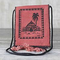 Cotton shoulder bag, 'Village Hut' - Cotton Shoulder Bag with Hut Design from Ghana