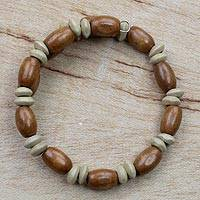 Wood beaded wrap bracelet, 'With the Grain' - Wood Bead and Disc Wrap Bracelet