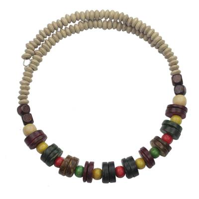 Multi-Color Wood Bead and Disc Wrap Necklace