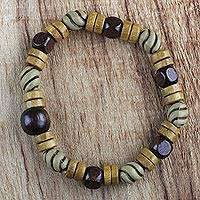Wood beaded stretch bracelet, 'Woodland Splendor' - Recycled Beaded Sese Wood Adjustable Stretch Bracelet
