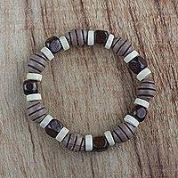 Wood beaded stretch bracelet, 'Ohemma' - Recycled Beaded Sese Wood Stretch Ohemma Bracelet