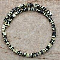 Recycled plastic beaded necklace, 'Savanna Shades' - Yellow and Black Recycled Plastic Disc Wrap Necklace