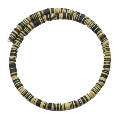 Yellow and Black Recycled Plastic Disc Wrap Necklace