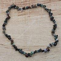 Quartz long necklace, 'Stone Bouquet' - West African Quartz Chip Handcrafted Long Strand Necklace