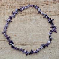 Amethyst long necklace, 'Charmed' - Amethyst Beaded Strand Long Necklace