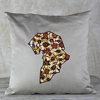 Cotton cushion cover, 'Khaki Africa' - Africa-Themed Cotton Cushion Cover in Khaki from Ghana