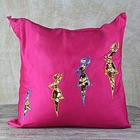 Cotton applique cushion cover, 'Cerise Dance' - Dance-Themed Cotton Cushion Cover in Cerise from Ghana