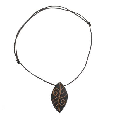 Long Sese Wood Leaf Pendant Necklace Hand Crafted in Ghana