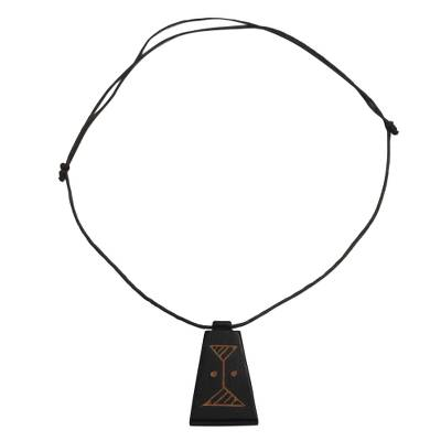 Long Sese Wood Pendant Necklace Hand Crafted in Ghana