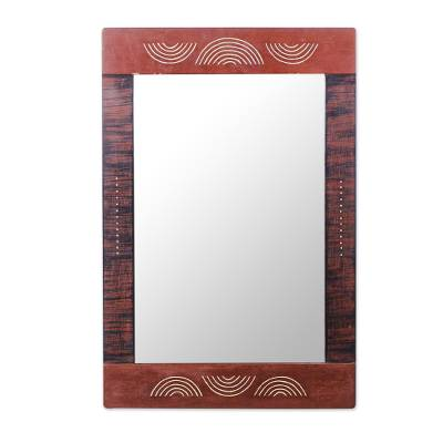 Cedar wood mirror, 'Half Moon' - Hand Carved Cedar Wood Half Moon Rectangle Glass Mirror