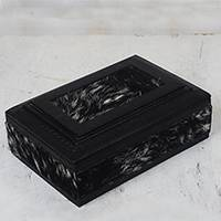 Leather and goatskin jewelry box, 'Anigye' - Handcrafted Black White Goatskin Fur Jewelry Box from Ghana