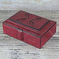 Leather jewelry box, 'Anigye Keeper' - Handmade Red Leather Jewelry Box with Suede Lining