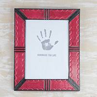 Leather photo frame, 'Passionate Memories' (8x10) - Handcrafted Leather Photo Frame in Red from Ghana (8x10)