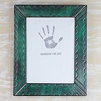 Leather photo wall frame, 'Green Curves' (8x10) - Handcrafted Green Leather Photo Frame from Ghana (8x10)