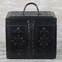 Leather jewelry chest, 'Handsome Ebony' - Handmade Ebony Black Tooled Jewelry Chest