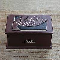 Wood decorative box, 'Memories of Nature' - Hand Carved Ghanaian Decorative Wood Box with Leaf Motif